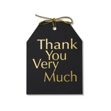 Gold foil Thank You Very Much gift tags with metallic gold tie on black linen paper. 4x5.5""