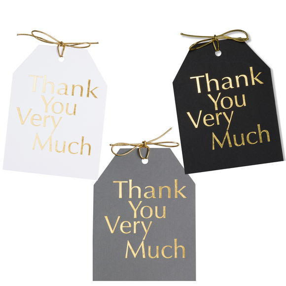 Gold foil Thank You Very Much gift tags with metallic gold ties on white, black, and gray linen paper. 4x5.5