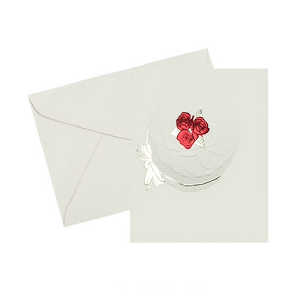 Foil embossed with light gold and red flowers birthday card note card,on ivory cover stock paper with an ivory enveloope
