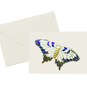 Foil embossed blue, black, and gold vintage butterfly note card on ivory cover paper with a gold foil-lined envelope