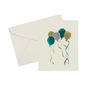 Gold, Silver, & turquoise foil embossed balloons note card. 5x7 Vintage card on ivory cover paper with a gold foil-lined ivory envelope. Blank inside