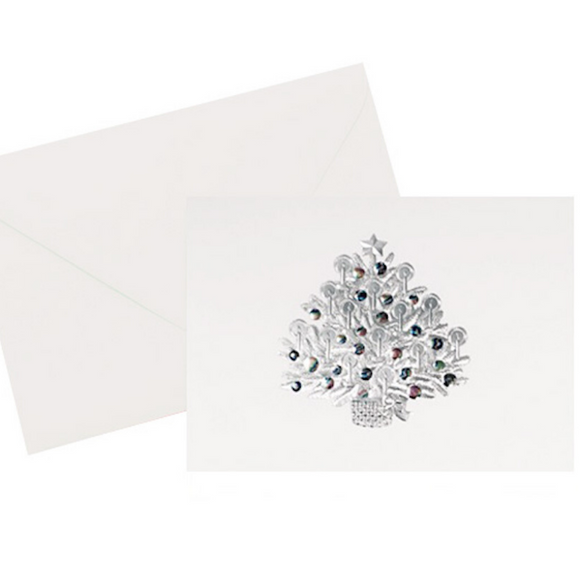 Silver foil embossed with holographic foil embossed ornaments on this beautiful vintage Christmas Tree holiday card.  5x7 inche. White paper with a white envelope.