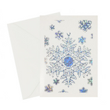 Snowflake Vintage Holiday Card  Silver holographic foil embossed