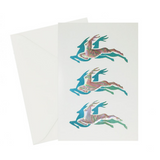 Reindeer Card, Blue and holographic blue foil stamped and embossed cards, ivory cover paper