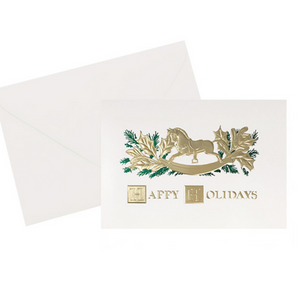 Rocking Horse Vintage holiday card, green foil stamped and embossed
