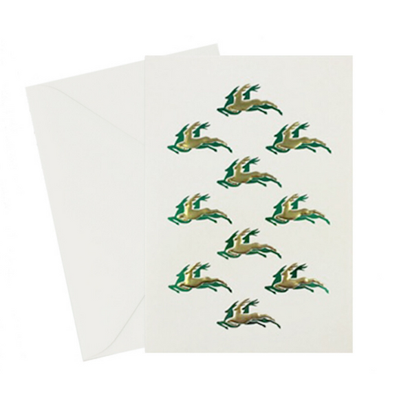Reindeer Green & Gold Card