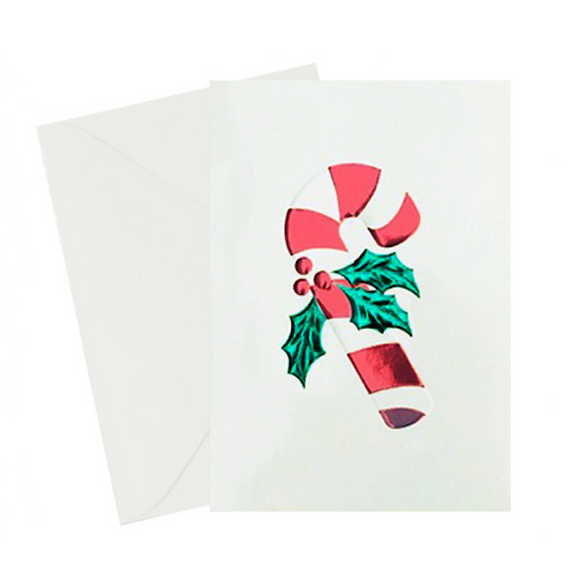 Vintage Candy Cane Holiday Chirstmas Card with red and green foil embossed on the card. 5x7 with an ivory envelope