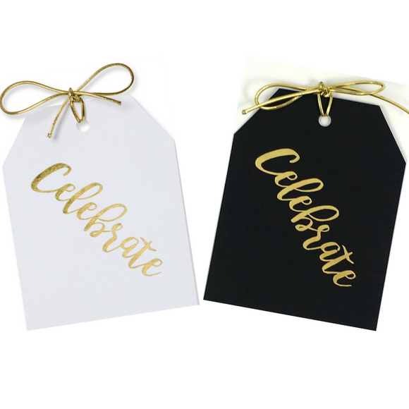 Gold foil Celebrate gift tags on white or black paper with metallic gold ties. Size 3.5x5 inches