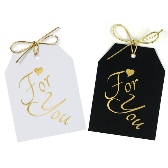 Gold foil For You with a gold heart above for, on white and black linen paper with a metallic gold tie. 3.5x4.5