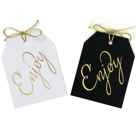 Gold foil Enjoy gift tags on white or black paper with metallic gold ties 3.5x4.5