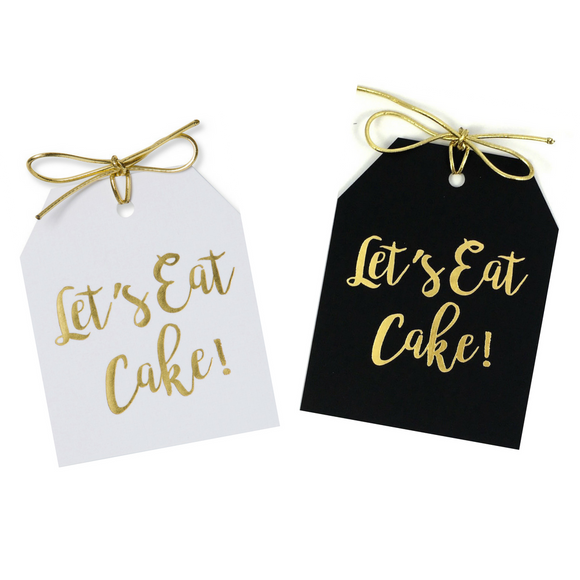 Gold foil Let's Eat Cake! gift tags on white and black linen paper with metallic gold ties. 3.5x4