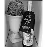 Eat Drink And Be Merry Black & White Tags Pack of 10