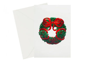 Wreath Vintage Season's Greetings card, red and green foil embossed