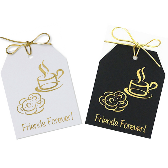 Gold Foil Friends Forever! Gift Tags with an image of donuts and coffee in gold foil. Black and white linen paper with metallic gold ties.