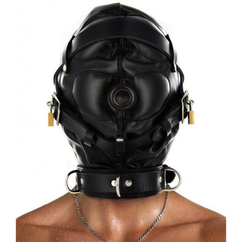 Leather Sensory Deprivation Hood S/M