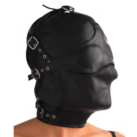 Asylum Leather Hood - Blindfold and Muzzle