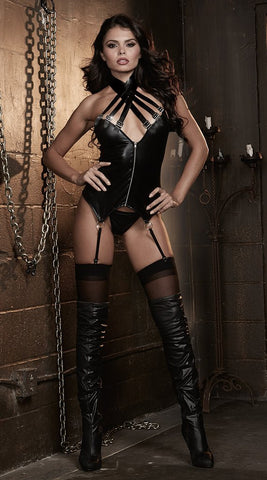 Dreamgirl Fetish Faux Leather Bustier & G-String