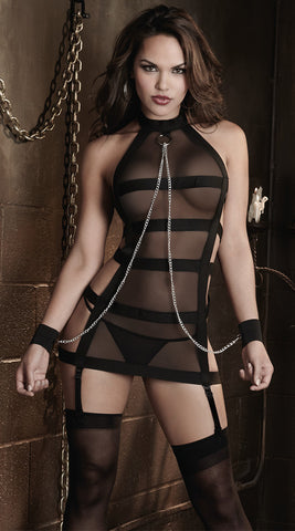 Dreamgirl Fetish Garter Slip with Chain Wrist Restraints & G-String