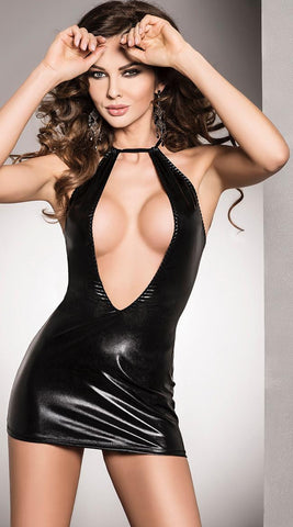 Passion Femi Wet-Look Dress & Thong