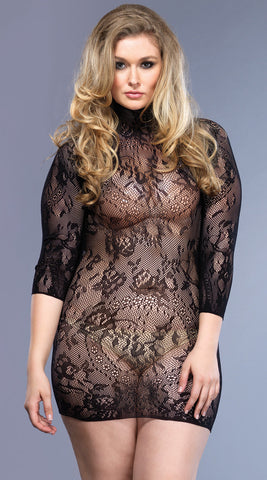 Leg Avenue Plus Size Floral Lace Mini Dress
