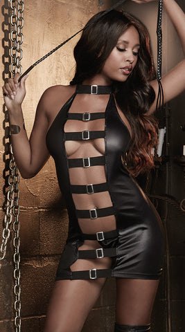 Dreamgirl Fetish Faux Leather Chemise with Braided Whip