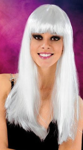 Cabaret Long Synthetic Fiber Wig White