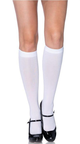 Leg Avenue Nylon Knee Highs - White