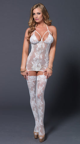 Leg Avenue Mesh and Lace Suspender Bodystocking - White
