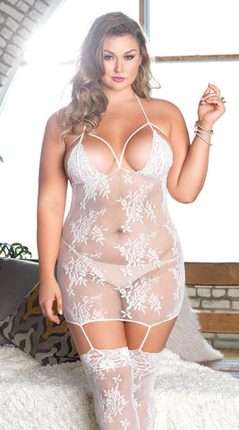 Leg Avenue Plus Size Cage Strap Bodystocking - White