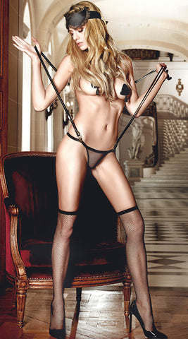 Baci Sheer G-String with Suspender & Eye Mask