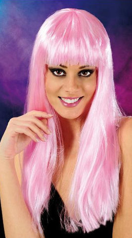 Cabaret Long Synthetic Fiber Wig Light Pink