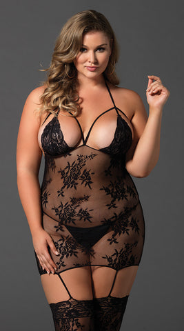 Leg Avenue Plus Size Cage Strap Bodystocking - Black