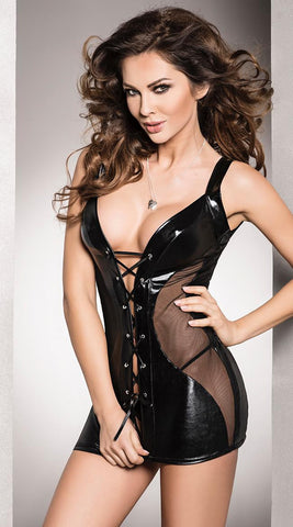 Passion Donata Wet-Look Chemise & G-String