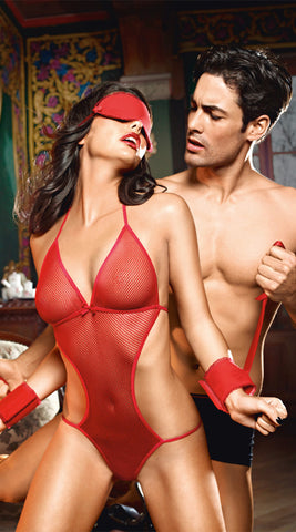 Baci Dangerous Love Monokini, Cuffs & Eye Mask - Red