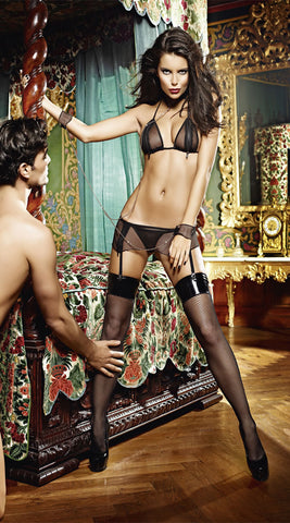 Baci Zip-Up Love Set Lingerie Set with Attached Chain