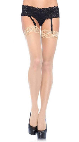 Leg Avenue Sheer Hold Ups With Lace Tops - Nude