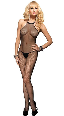 Leg Avenue Fishnet Halter Bodystocking - Black