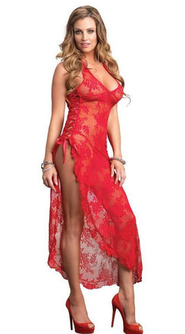 Leg Avenue Long Dress With G-String Red