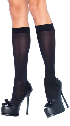 Leg Avenue Nylon Knee Highs - Black