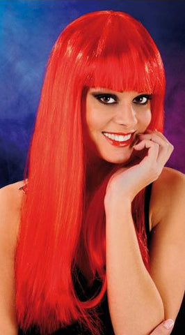 Cabaret Long Synthetic Fiber Wig Red