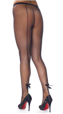 Rimba Black Fishnet Tights With Bows