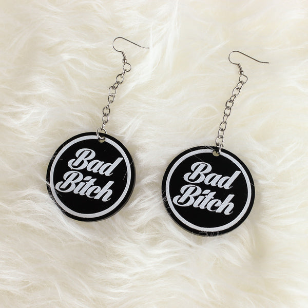 Bad Bitch Acrylic Earrings - Black - Witch - Goth - Nu Goth - Witch Worldwide