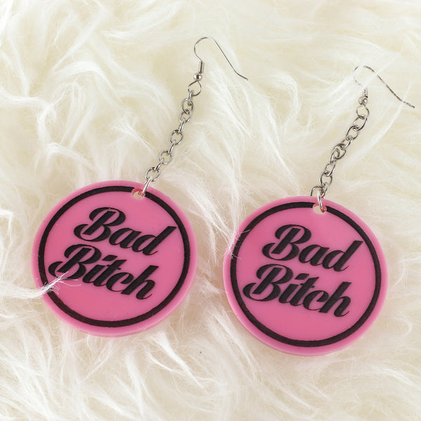 Bad Bitch Acrylic Earrings - Pink - Witch - Goth - Nu Goth - Witch Worldwide