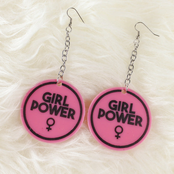 Girl Power Acrylic Earrings - Pink - Witch - Goth - Nu Goth - Witch Worldwide