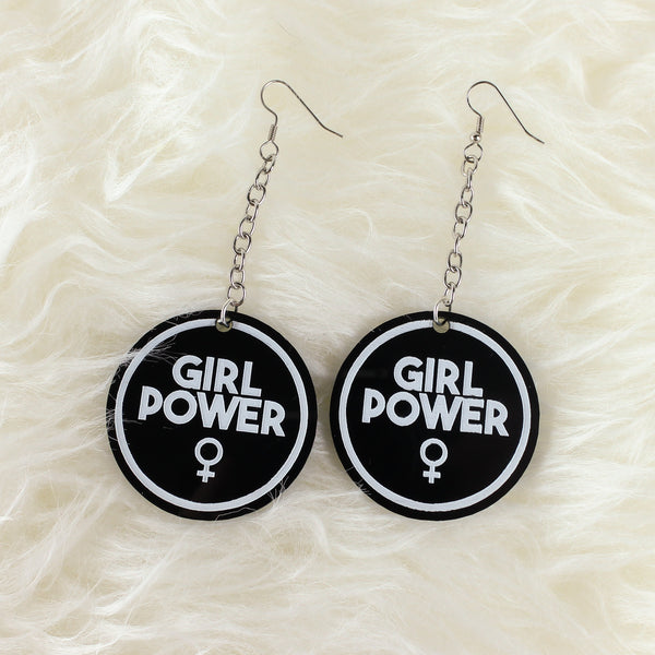 Girl Power Acrylic Earrings - Black - Witch - Goth - Nu Goth - Witch Worldwide