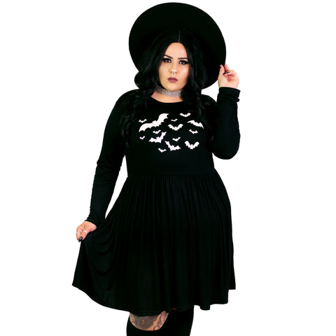 Bats Empress Dress - Plus Size 2X 3X 4X Goth Batwing Halloween Spider Spooky Coffin Dark Haunted Gothic Empire Smock Babydoll Dress