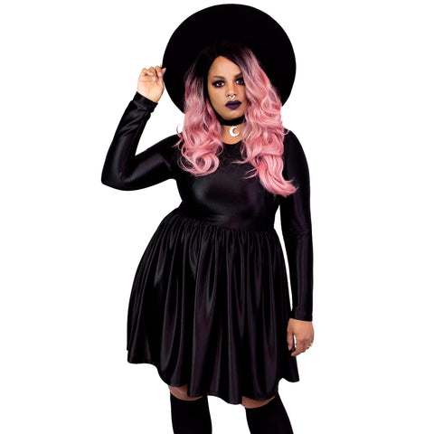 Black Shiny Lycra Empress Dress - Plus Size 2X 3X 4X Goth Witch Moon Gothic Magical Empire Nylon Tricot Smock Babydoll Dress