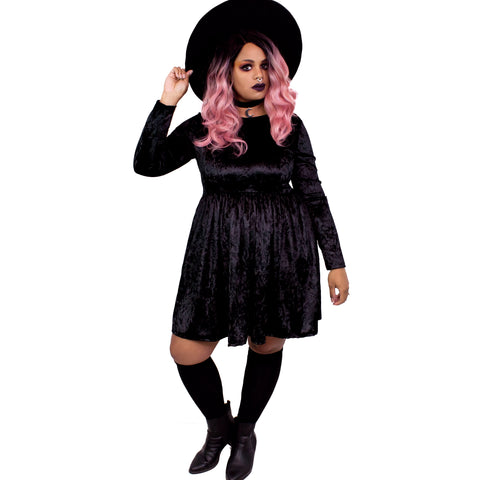 Black Velvet Empress Dress - Plus Size 2X 3X 4X Goth Witch Moon Gothic Magical Empire Smock Babydoll Dress