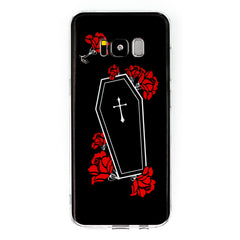 Coffin Roses Samsung Galaxy Case S7 S7 Edge S8 S8+ Death Red Roses RIP Graveyard Grave Ghost Spooky Dark Goth Gothic Phone Case