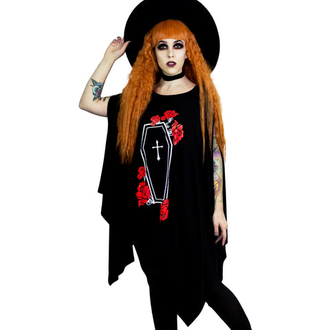 Coffin Roses Oversized Tunic Top Goth Clothes Gothic Clothing